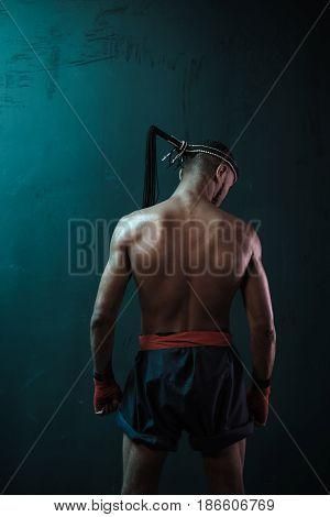 Muay Thai Athlete Training At Thai Boxing Indoors, Ultimate Fight Concept
