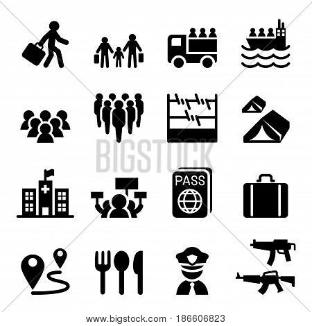Refugee immigrants immigration icons set vector illustration graphic design