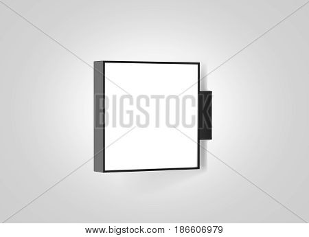Blank store outdoor signage mockup isolated 3d rendering. Empty square light box mockup. Illuminated shop lightbox template. Street sign hanging mounted on the wall. Signboard for logo presentation.