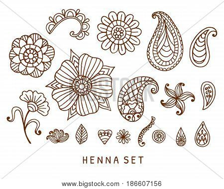 Vector henna tattoo doodles set. Indian paisley, floral asian ethnic design elements, isolated on white background. Indian, oriental style. Boho print