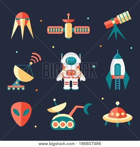 Vector flat outer space elements. Icon set. Cosmos exploration