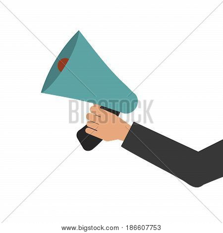 Megaphone in hand bullhorn communication message loud speaker vector illustration. Volume public broadcasting equipment speech announcement object announce sound tool.