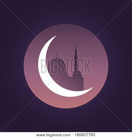 Ramadan arabian landscape view. Mosque, night sky and shiny moon. Illustration for islamic holidays.