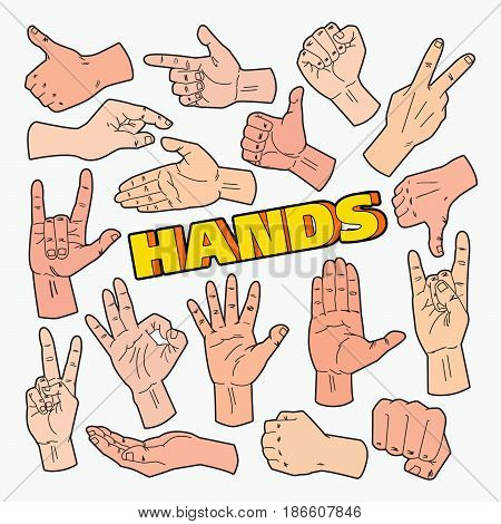 Hands Gestures Doodle with Different Signs. Vector illustrations