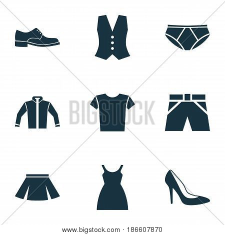 Garment Icons Set. Collection Of Heel Footwear, Elegance, Dress And Other Elements. Also Includes Symbols Such As Footwear, Heel, Cardigan.
