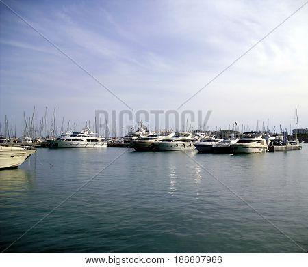 Boats At Alicante Marina, Costa Blanca, Spain
