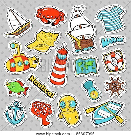 Nautical Marine Life Doodle with Fish, Submarine and Boat. Vector Stickers, Badges and Patches