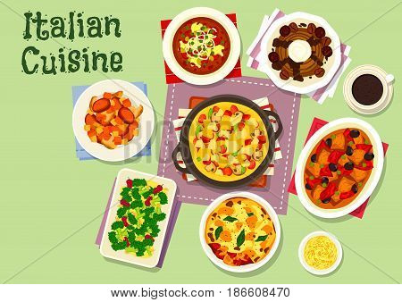 Italian cuisine healthy dishes for lunch icon with tomato soup, meat lasagna with cheese, mushroom stew, pork pepper stew, broccoli with garlic sauce, vegetable omelette, cream dessert with chestnut