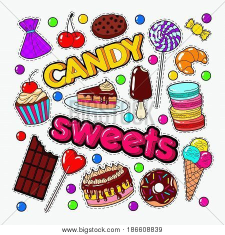 Candy and Sweet Food Doodle with Chocolate and Ice Cream. Vector illustration