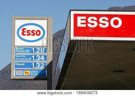 Logo Sign Of Esso Petrol Station
