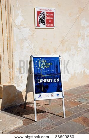 VALLETTA, MALTA - MARCH 30, 2017 - Ever Closer Union Exhibition poster outside the main guard building in St Georges Square Valletta Malta Europe, March 30, 2017.