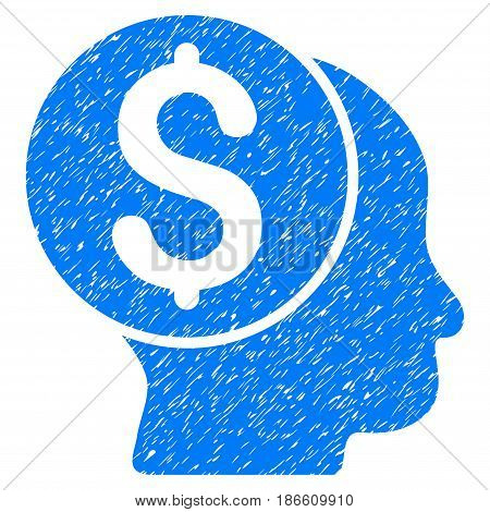 Grunge Banker icon with grunge design and unclean texture. Unclean vector blue pictogram for rubber seal stamp imitations and watermarks. Draft sticker symbol.