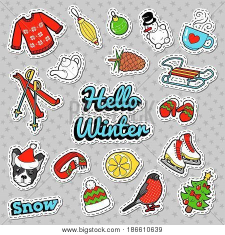 Hello Winter Doodle with Christmas Decoration - Snowman, Ski and Sweater. Vector badges, patches and stickers