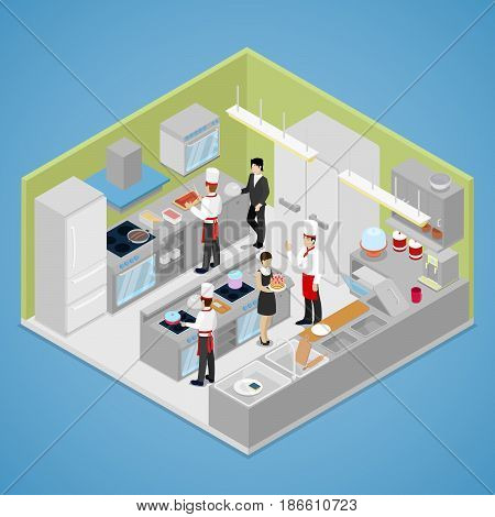 Restaurant Kitchen Interior. Chef Cooking Food. Isometric vector flat 3d illustration