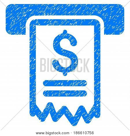 Grunge Cheque Payment icon with grunge design and unclean texture. Unclean vector blue pictogram for rubber seal stamp imitations and watermarks. Draft sticker symbol.