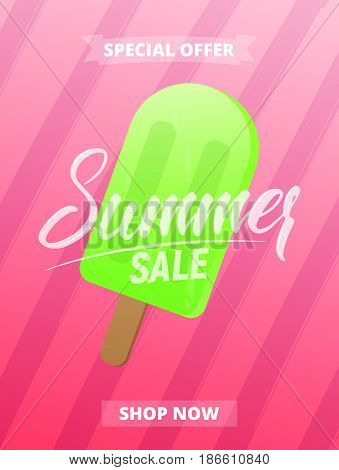 Summer sale poster, advertisement, banner, card, etc. Background with lettering, trendy stripes and ice cream.