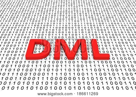 DML in the form of binary code, 3D illustration