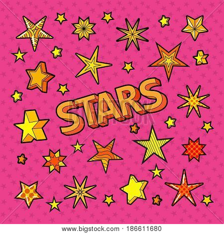 Stars Doodle. Collection of Star Shapes. Vector illustration