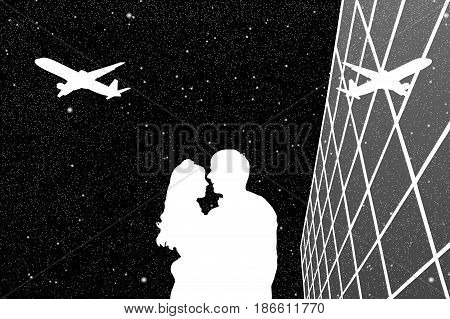 Lovers in airport at night. Vector illustration with silhouette of loving couple and flying aircraft under starry sky. Black and White