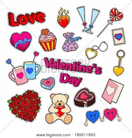 Love and Romance. Valentines Day Doodle with Hearts and Sweets. Vector illustration