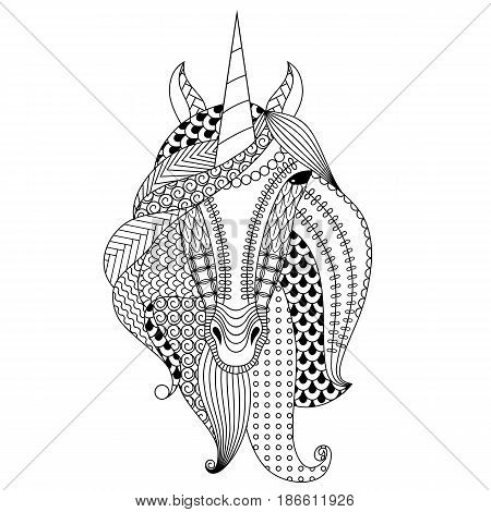 Hand-drawn unicorn. Coloring book for adults, vector illustration, isolated on a white background.