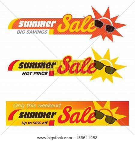 Summer Sale label price tag banner badge template sticker design. Vector illustration.