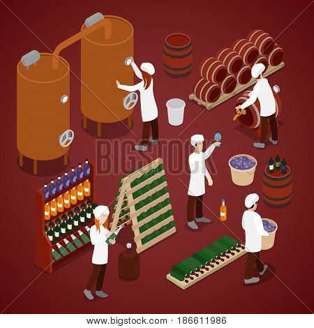 Winery Factory. Wine Production Line. Isometric vector flat 3d illustration