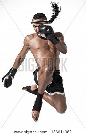 Angry Muay Thai Fighter Training Isolated On White, Fight Club Concept