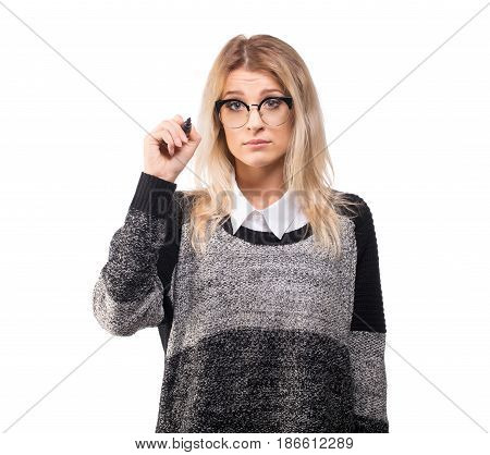 Upset business woman drawing concept with marker feel embarrassed isolated on white.
