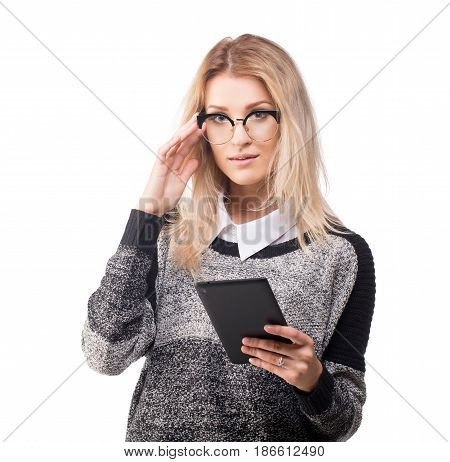Cute modest young business woman with a tablet new working style concept isolated on white.