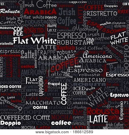 Coffee Words Seamless Background. Beverage Tags Pattern