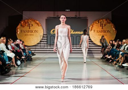 Ternopil, Ukraine - May 12, 2017: Fashion Models Wearing Clothes Designed By  Oksana Chorna From The