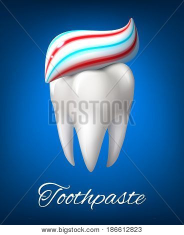 Tooth with toothpaste poster. White tooth with healthy roots and strip of toothpaste on the top. Dentistry, dental care, hygiene treatment and health care themes design