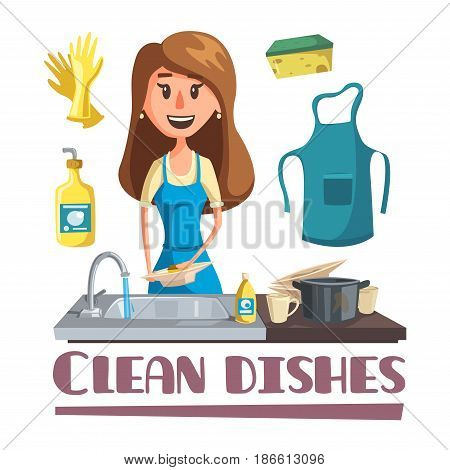 Woman washing dishes by hand in sink cartoon poster. Young housewife in apron and household gloves cleaning dishes, pot and cup with dish soap and sponge for household chores concept design