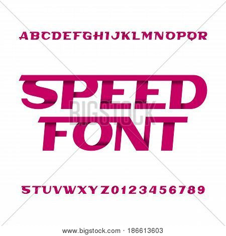 Speed alphabet font. Oblique type letters and numbers on a white background. Vector typeface for your design.