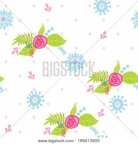 seamless pattern with pretty bouquets of flowers