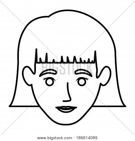 monochrome contour of smiling woman face with short hair with bangs vector illustration