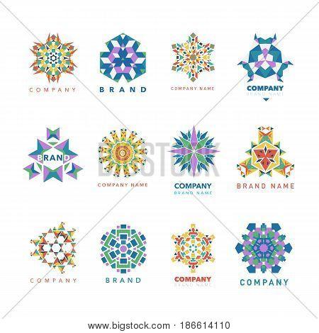 Abstract triangular polygonal shape kaleidoscope logo template circle decorative vector illustation. Oriental floral indian round abstraction ethnic mandala vintage motive.
