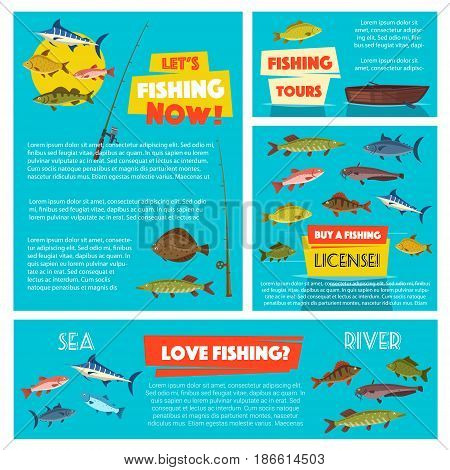 Fishing sport poster template with sea and river fish. Fishing boat, rod and tackle cartoon banner with salmon, tuna, trout, perch, flounder, mackerel, sheatfish and herring. Fishing themes design
