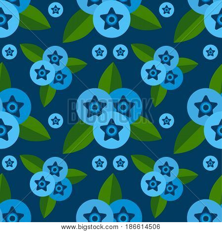 Vector Seamless Pattern Of Berries Blueberry, Blue, Green Leaves