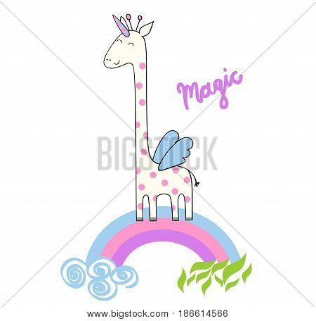 Magic cute giraffe. Cute Hand Drawn greeting card.