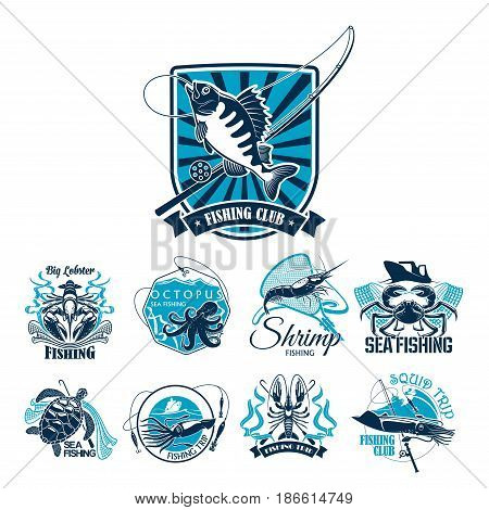 Fishing sport club and sea fishing trip badge set. Ocean fish, crab, shrimp, lobster, squid and sea turtle icon with fishing boat, net and tackle on heraldic shield with ribbon banner