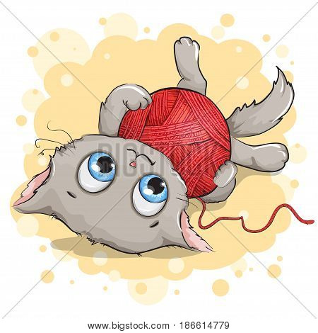 Funny gray kitten playing with a ball of yarn. Background yellow