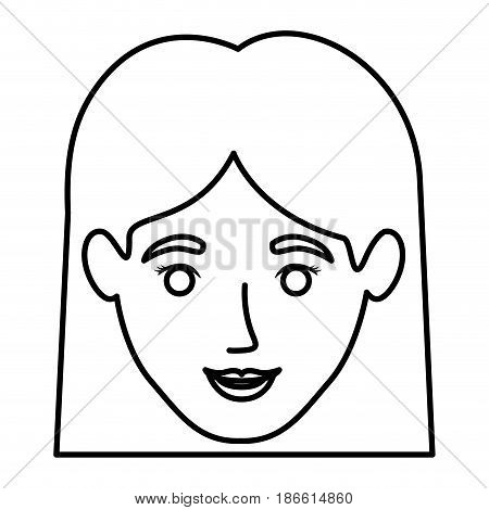 monochrome contour of smiling woman face with straight short hair vector illustration