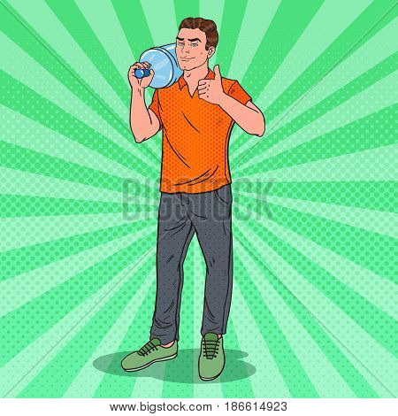 Water Delivery Service. Deliveryman Holding Water Jug. Pop Art vector illustration