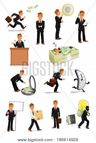 Businessman cartoon character set. Manager with money, euro currency bubble, sign board, briefcase, reading, making speech, stealing idea, carrying box, sleeping. Business people activity theme design