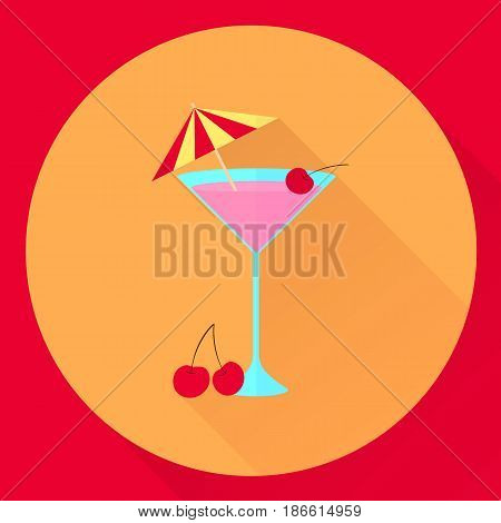 Vector Flat Icon Cocktail With Cherry And Umbrella, Glass, Pink,