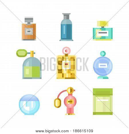 Perfume glamour fashionable beautiful cosmetic bottle and france shiny packaging tube product female fragrance vector illustration. Perfumery femininity merchandise gift transparent symbol.