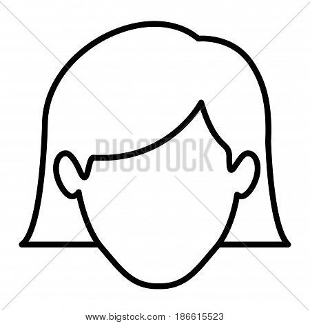 monochrome contour of faceless woman with the hair down to the neckline vector illustration