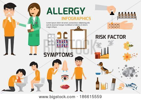 Allergy Infographic Set. Content graphics of symptoms and prevention allergy disease. health and medical concept vector illustration.